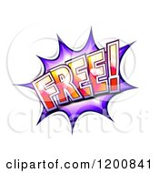 Cartoon Of A FREE Comic Burst Balloon Royalty Free Vector Clipart