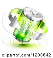 Clipart Of A 3d Silver Arrow Around A Green Battery Royalty Free Vector Illustration