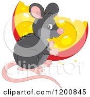 Cartoon Of A Cute Black Mouse With A Cheese Wedge Royalty Free Vector Clipart