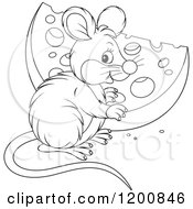 Cartoon Of An Outlined Black And White Cute Mouse With A Cheese Wedge Royalty Free Vector Clipart
