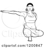 Clipart Of A Black And White Woman Stretching In The Ardha Baddha Padma Yoga Pose Royalty Free Vector Illustration by Lal Perera