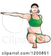 Clipart Of A Fit Woman In Green Stretching In The Ardha Baddha Padma Yoga Pose Royalty Free Vector Illustration by Lal Perera