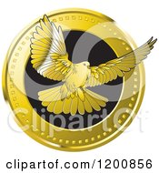 Clipart Of A  Gold Dove Flying From A Coin Royalty Free Vector Illustration