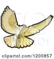 Clipart Of A Gold Dove Flying Royalty Free Vector Illustration