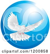 Clipart Of A White Dove Flying In A Blue Circle Royalty Free Vector Illustration by Lal Perera