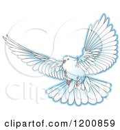 Clipart Of A White Dove Flying Royalty Free Vector Illustration by Lal Perera