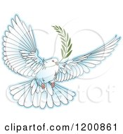Clipart Of A White Dove Flying With An Olive Branch Royalty Free Vector Illustration