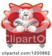 Cartoon Of A Pink Teddy Bear Reading A Book In A Red Chair Royalty Free Vector Clipart
