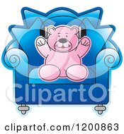 Cartoon Of A Pink Teddy Bear Wearing Headphones In A Blue Chair Royalty Free Vector Clipart