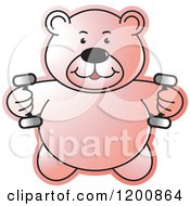 Cartoon Of A Pink Fitness Teddy Bear Lifting Dumbbell Weights At The Gym Royalty Free Vector Clipart