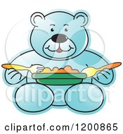 Cartoon Of A Blue Teddy Bear Eating A Meal Royalty Free Vector Clipart by Lal Perera