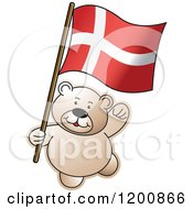 Cartoon Of A Teddy Bear With A Denmark Flag Royalty Free Vector Clipart