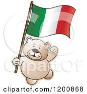 Cartoon Of A Teddy Bear With An Italian Flag Royalty Free Vector Clipart by Lal Perera