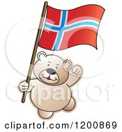 Cartoon Of A Teddy Bear With A Norway Flag Royalty Free Vector Clipart by Lal Perera