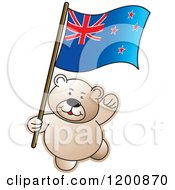 Cartoon Of A Teddy Bear With A New Zealand Flag Royalty Free Vector Clipart