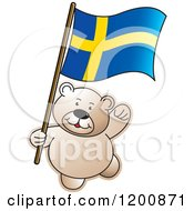 Cartoon Of A Teddy Bear With A Sweden Flag Royalty Free Vector Clipart by Lal Perera