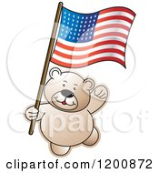 Cartoon Of A Teddy Bear With An American Flag Royalty Free Vector Clipart by Lal Perera