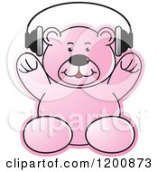 Cartoon Of A Pink Teddy Bear Wearing Headphones Royalty Free Vector Clipart