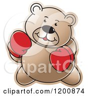 Cartoon Of A Brown Boxing Teddy Bear Royalty Free Vector Clipart by Lal Perera