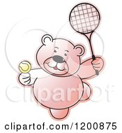 Cartoon Of A Pink Teddy Bear Playing Tennis Royalty Free Vector Clipart