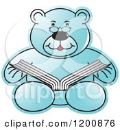 Cartoon Of A Blue Teddy Bear Reading A Book Royalty Free Vector Clipart by Lal Perera