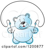 Cartoon Of A Blue Teddy Bear Using A Jump Rope Royalty Free Vector Clipart