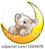 Cartoon Of A Brown Teddy Bear Sleeping On A Crescent Moon Royalty Free Vector Clipart by Lal Perera