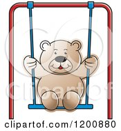 Cartoon Of A Brown Teddy Bear Swinging Royalty Free Vector Clipart by Lal Perera