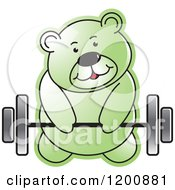 Cartoon Of A Green Teddy Bear Lifting A Barbell Royalty Free Vector Clipart by Lal Perera
