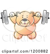 Cartoon Of A Strong Teddy Bear Lifting A Barbell Royalty Free Vector Clipart by Lal Perera