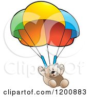 Cartoon Of A Brown Teddy Bear Floating With A Parachute Royalty Free Vector Clipart by Lal Perera