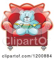 Cartoon Of A Blue Teddy Bear Eating In A Red Chair Royalty Free Vector Clipart