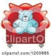 Cartoon Of A Blue Teddy Bear Sitting In A Red Chair Royalty Free Vector Clipart
