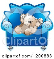 Cartoon Of A Brown Teddy Sleeping In A Blue Chair Royalty Free Vector Clipart by Lal Perera