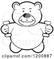 Cartoon Of A Black And White Outlined Fitness Teddy Bear Lifting Dumbbell Weights At The Gym Royalty Free Vector Clipart