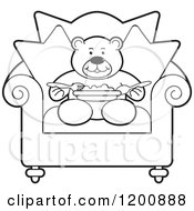 Cartoon Of A Black And White Outlined Teddy Bear Eating A Meal In A Chair Royalty Free Vector Clipart