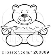 Cartoon Of A Black And White Outlined Teddy Bear Eating A Meal Royalty Free Vector Clipart
