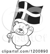 Cartoon Of A Black And White Teddy Bear With A Denmark Flag Royalty Free Vector Clipart