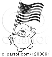 Cartoon Of A Black And White Teddy Bear With An American Flag Royalty Free Vector Clipart