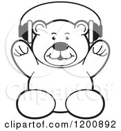 Cartoon Of A Black And White Teddy Bear Wearing Headphones Royalty Free Vector Clipart