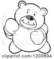 Cartoon Of A Black And White Boxing Teddy Bear Royalty Free Vector Clipart