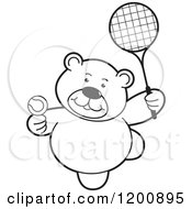 Cartoon Of A Black And White Teddy Bear Playing Tennis Royalty Free Vector Clipart