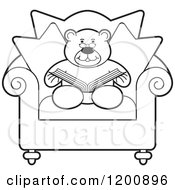 Cartoon Of A Black And White Teddy Bear Reading A Book In A Chair Royalty Free Vector Clipart