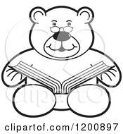 Cartoon Of A Black And White Teddy Bear Reading A Book Royalty Free Vector Clipart