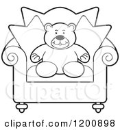 Cartoon Of A Black And White Teddy Bear In A Chair Royalty Free Vector Clipart