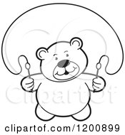 Cartoon Of A Black And White Teddy Bear Using A Jump Rope Royalty Free Vector Clipart