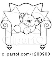Cartoon Of A Black And White Teddy Bear Sleeping On A Chair Royalty Free Vector Clipart