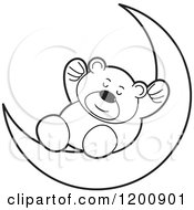 Cartoon Of A Black And White Teddy Bear Sleeping On A Crescent Moon Royalty Free Vector Clipart