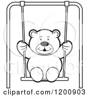 Cartoon Of A Black And White Teddy Bear Swinging Royalty Free Vector Clipart