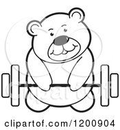 Cartoon Of A Black And White Teddy Bear Lifting A Barbell Royalty Free Vector Clipart